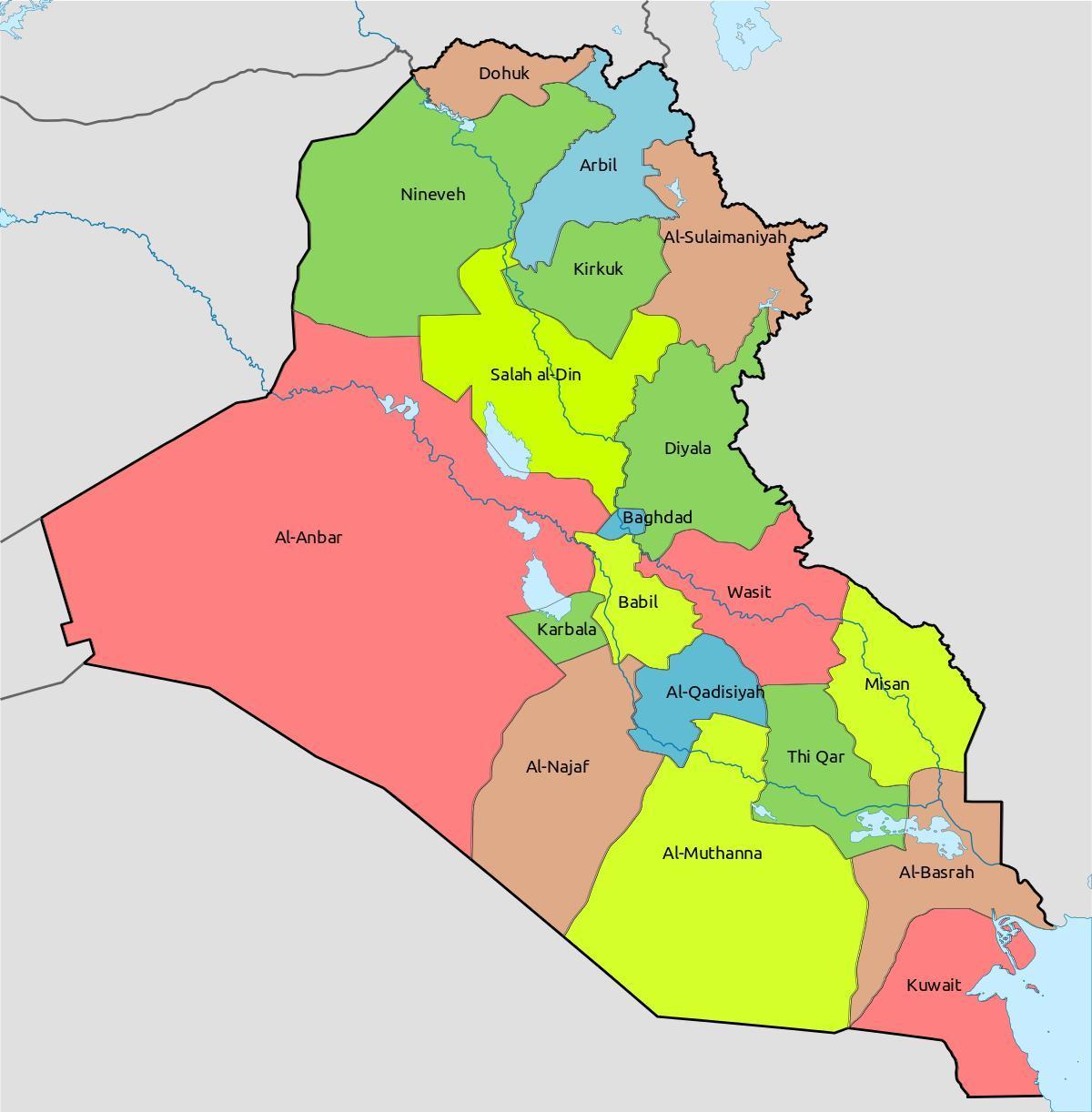 Kuwait-map-Bereichen, - Kuwait anzeigen mit Blöcken (West ...