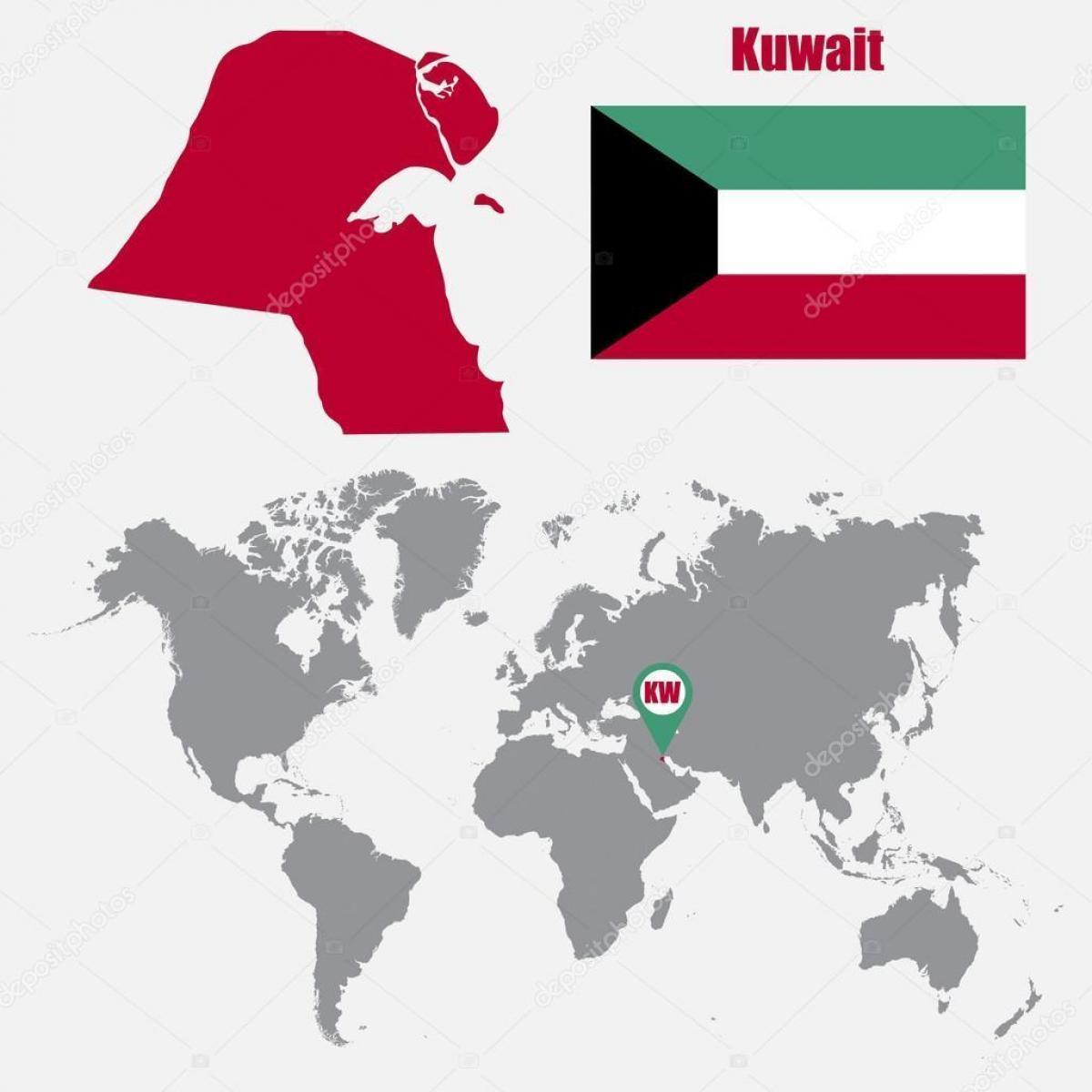 Kuwait-Standort auf Weltkarte - Karte von Kuwait in world map (West ...